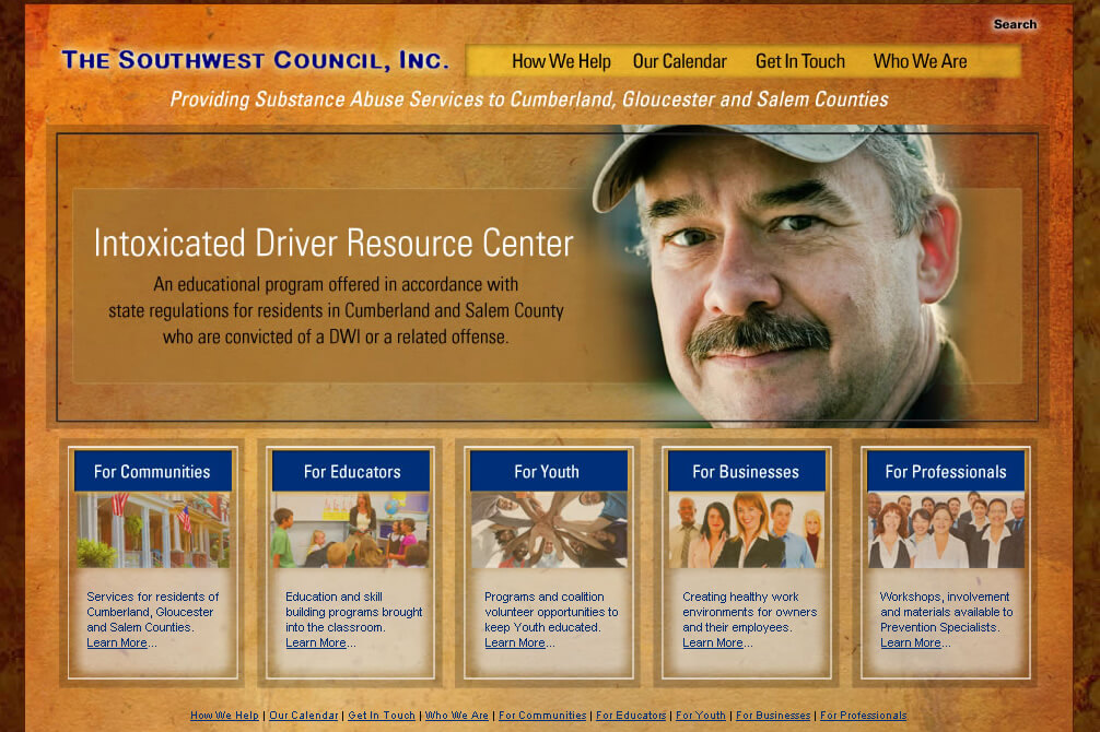 Website design for the Southwest Council a New Jersey Non-Profit