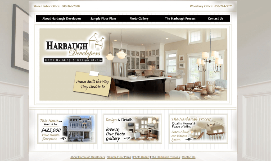 Website design for NJ Harbaugh Developers