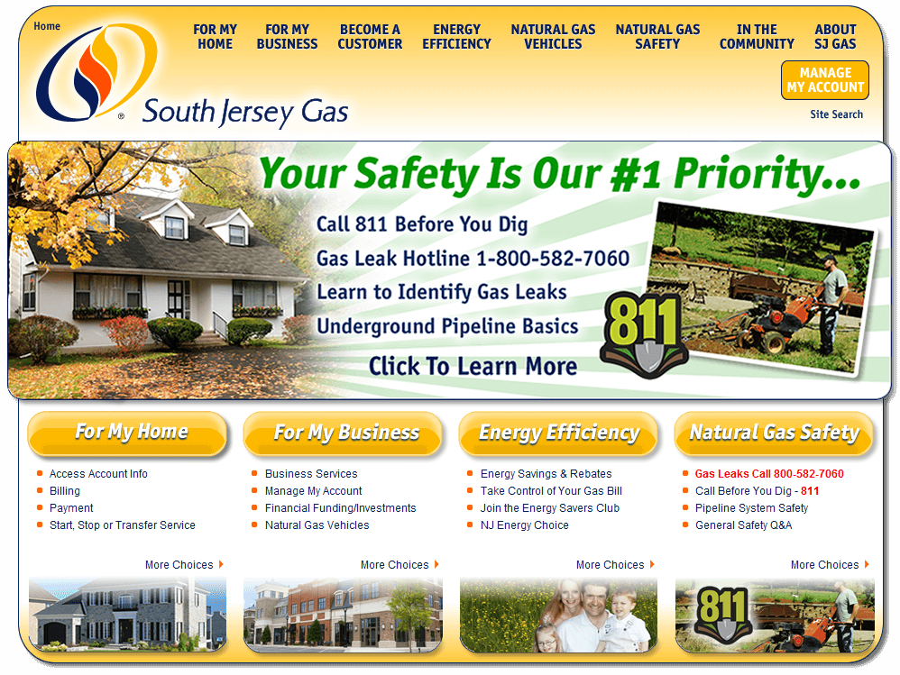 Web Design for South Jersey Gas, Hammonton, NJ