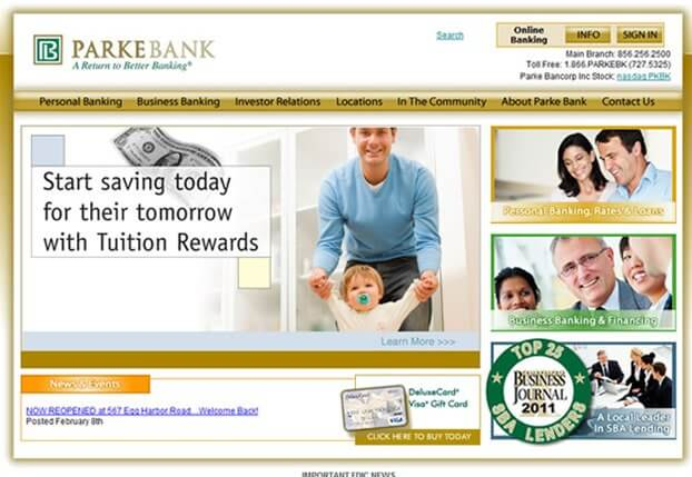 NJ Web Site Design - Parke Bank, Sewell New Jersey