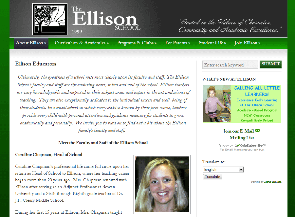 This is an example of an inside web page design for Ellison School in Vineland, New Jersey.  This is a custom WordPress web page.