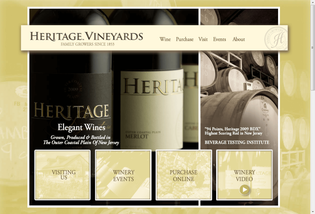 A new WordPress web design for Heritage Vineyards in Mullica Hill New Jersey