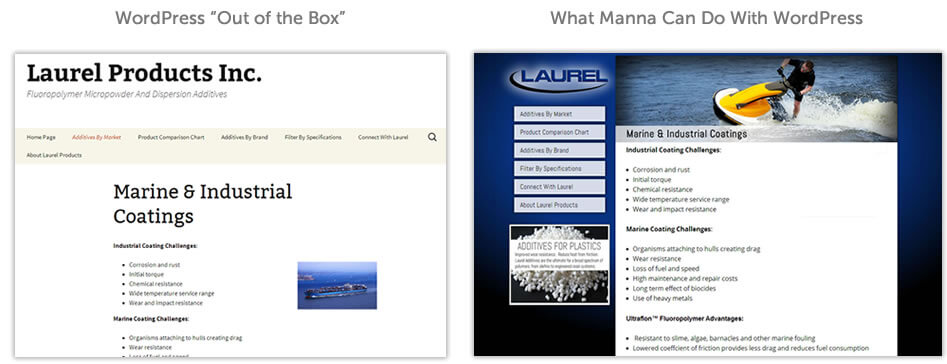 """Actual NJ Web Design Client:  On the left is an """"out of the box"""" installation of WordPress.  On the right, is the same website after the Manna's team worked their design magic."""