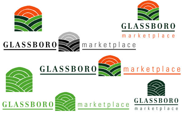 Logo Design Variations using the Glassboro Marketplace as an example.  Includes: One Color Logo Icon, Full Color Horizontal Logo, Full Color Vertical Logo and One Color Horizontal Logo