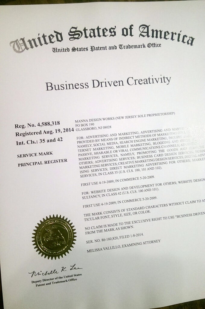 Business Driven Creativity is now the official trademark of Manna Design Works.