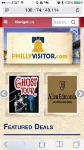 The new PhillyVisitor.com website as seen on a mobile smartphone.