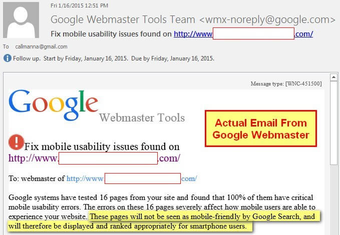 A sample of the actual warning e-mail going to web masters to let them know their site isn't mobile-friendly.