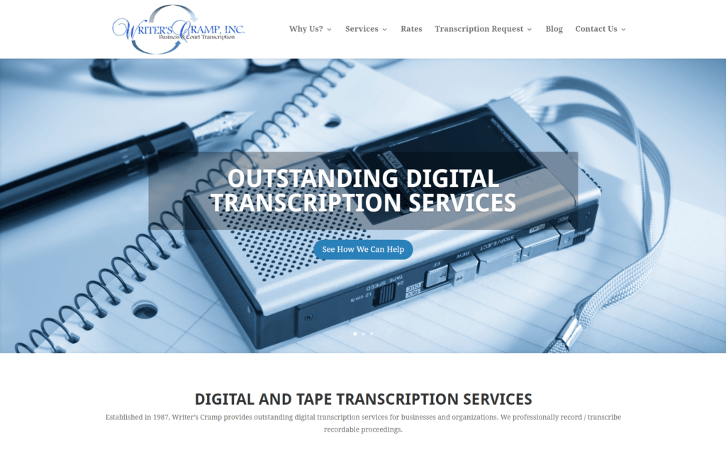 NJ Transcription Service Company Writer's Cramp WordPress Website
