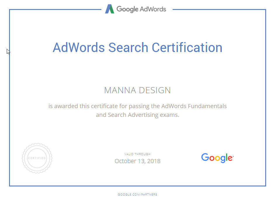 manna group google adwords certification badge