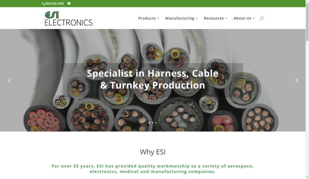 esi electronics nj wordpress website